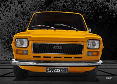 Fiat 127 front view Poster in yellow