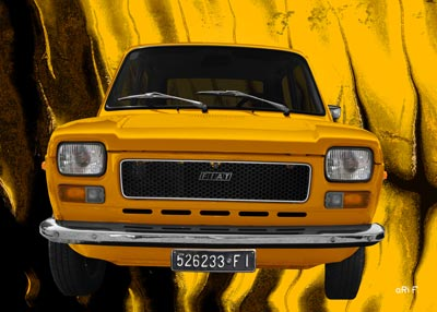 Fiat 127 Poster in yellow