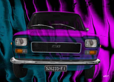 Fiat 127 Art Car Poster in pink mixed created by aRi F.