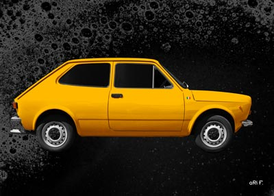 Fiat 127 side view Poster in yellow