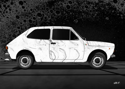 Fiat 127 Poster in white creation by aRi F.