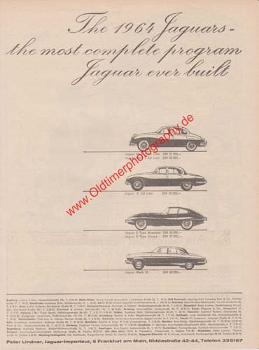 Jaguar Mark 2, Jaguar E-Type, Jaguar Mark 10, Advertising Werbung 1964
