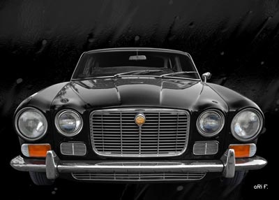 Jaguar XJ S1 front view Poster in black