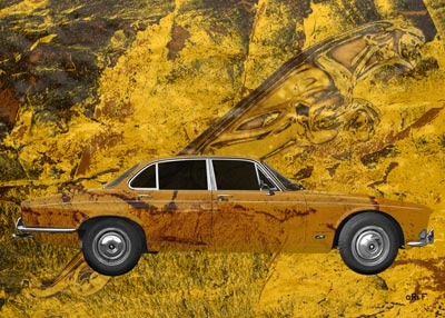 Jaguar XJ Serie 1 sideview Poster in mixed colors
