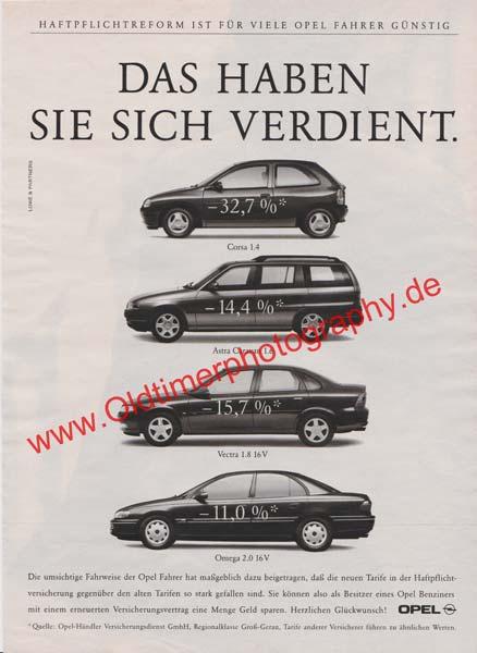 Opel Corsa, Opel Astra, Opel Vectra, Opel Omega Werbung 1990er Jahre