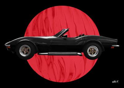 Chevrolet Corvette C3 Poster in black & red