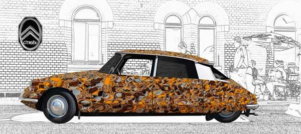 Citroen ID 19 Art Car Poster en marron et beige