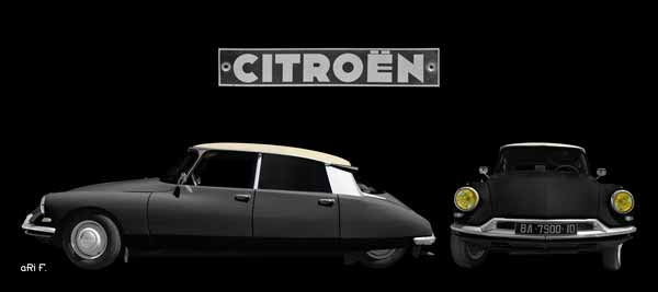Citroen ID 19 Poster double view dark black