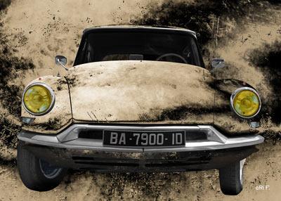 Citroen ID 19 Art Car Poster antique