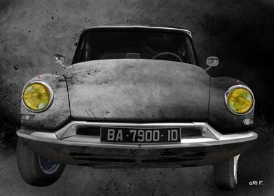 Citroen ID 19 Art Car Poster antique en gris