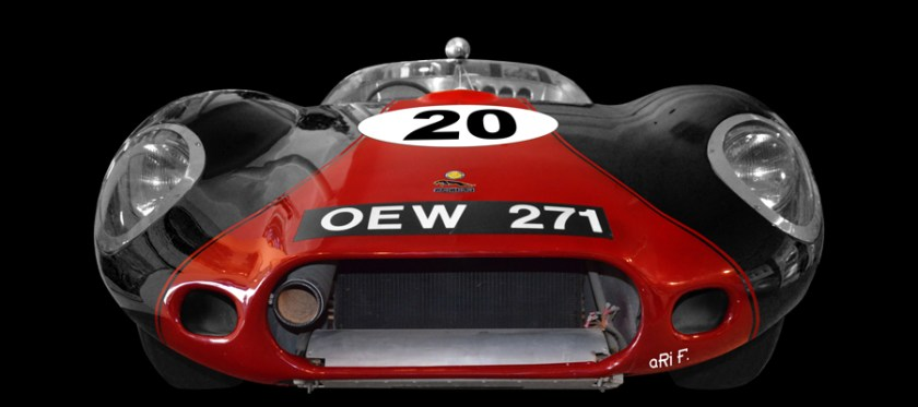 Poster 1955 Lister Jaguar OEW 271 mit Costin Alu-Karosserie