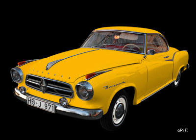 Poster Borgward Isabella Coupé in black & yellow