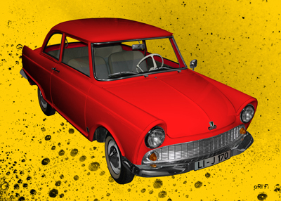 DKW Junior Poster in red & yellow