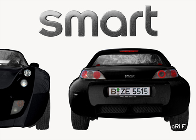 smart Roadster Poster two in black & white 2