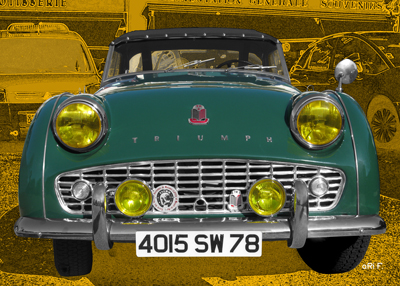 Triumph TR3 Poster in racing green