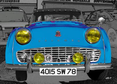 Triumph TR3 Poster in blue