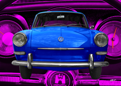VW 1500 Poster in blue & pink