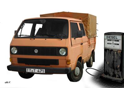 VW Typ 2 T3 Doka Pritsche Poster in Originalfarbe