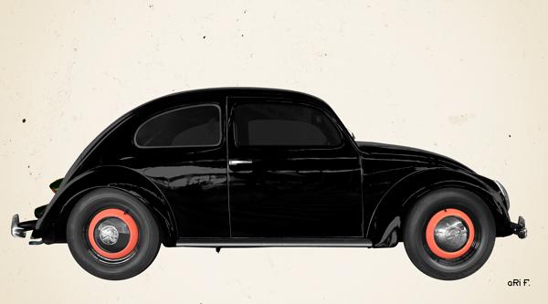 VW Ur-Käfer Poster in Originalfarbe
