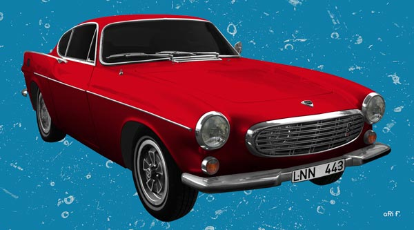 Volvo P1800 in red & blue