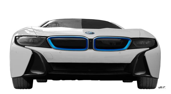 BMW i8 Poster in Originalfarbe Front view