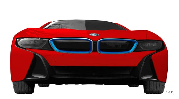 BMW i8 Poster in Originalfarbe rot Front view