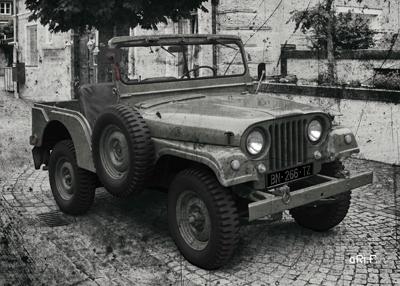 Willys Jeep Poster in schwarzweiß