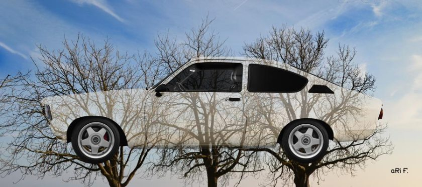 Opel Kadett C Art Car Three Trees Poster