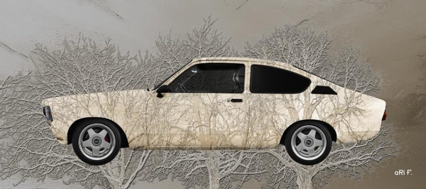 Opel Kadett C Art Car 3 Trees Poster