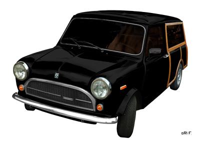 Innocenti Mini ClubmanWoody Poster in black & white
