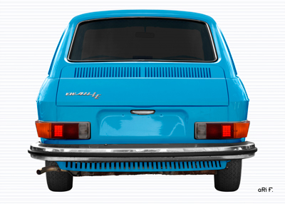 VW 411 Poster rear view in light blue