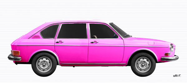 VW 411 Poster in pink