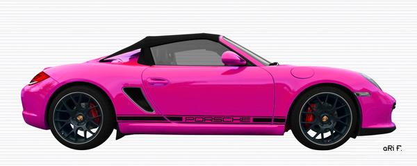Porsche Boxster Spyder Typ 987 Poster in pink