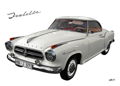 Borgward Isabella Poster in Original Farbe by aRi F.