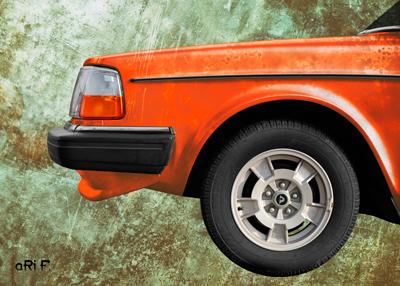 Volvo 240 in Poster patina orange
