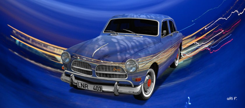 Volvo Amazon Art Car Poster in blue by aRi F.