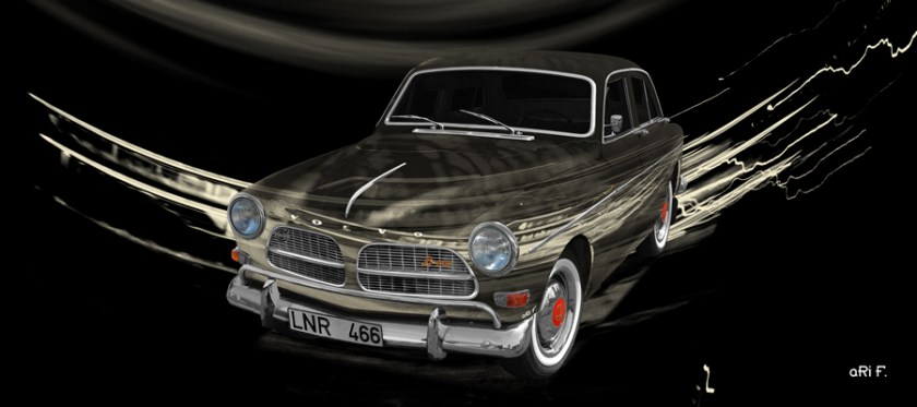 Volvo Amazon Art Car Poster in antique black by aRi F.