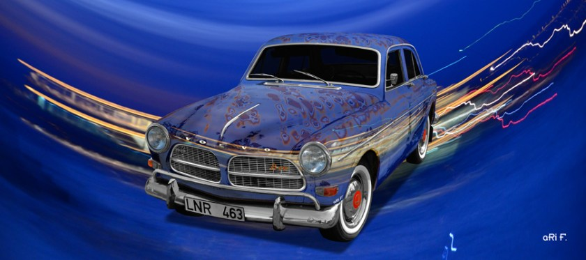 Volvo Amazon Art Car Poster in special blue by aRi F.