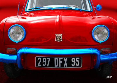 Renault Dauphin Poster in red & blue