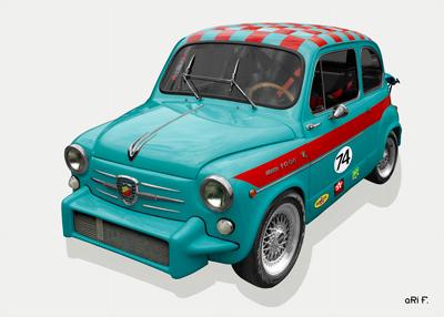 Fiat Abarth 1000 TC Poster in cyan