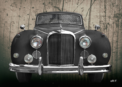 Jaguar Mark IX Poster in black antique