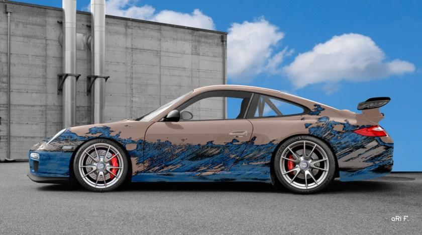 Porsche 911 GT3 Typ 997 Art Car Poster in blue-bisque