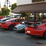 3 Porsche GT3 RS und mittendrin ein Wiesmann Roadster MF3