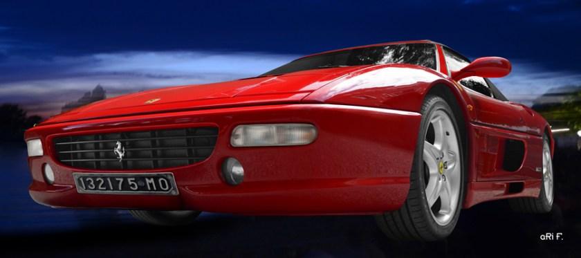 Ferrari F355 Spider Poster in red & blue