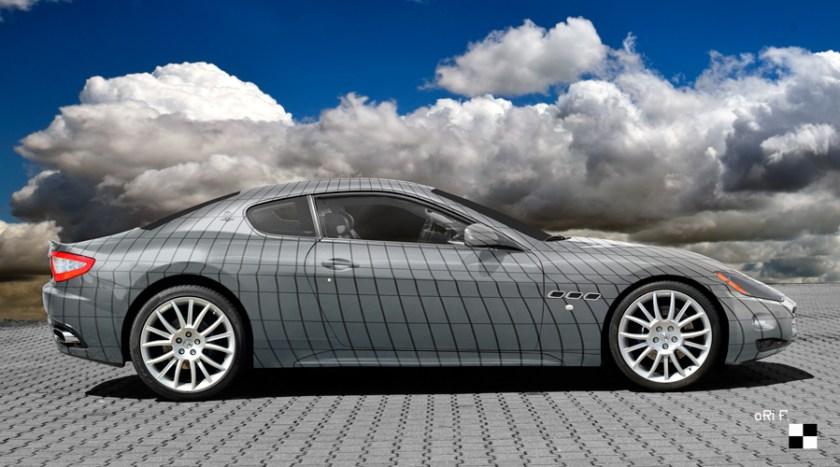 Maserati GranTurismo Art Car Poster in Silver