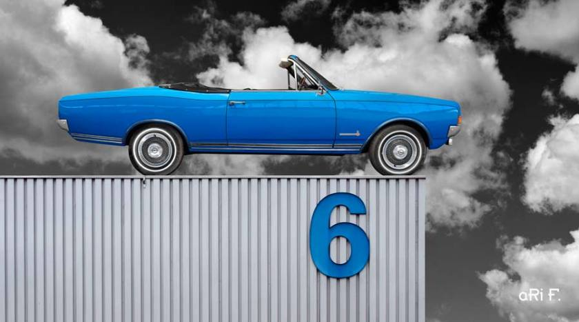 Opel Commodore A Cabriolet auf Industriehalle Poster