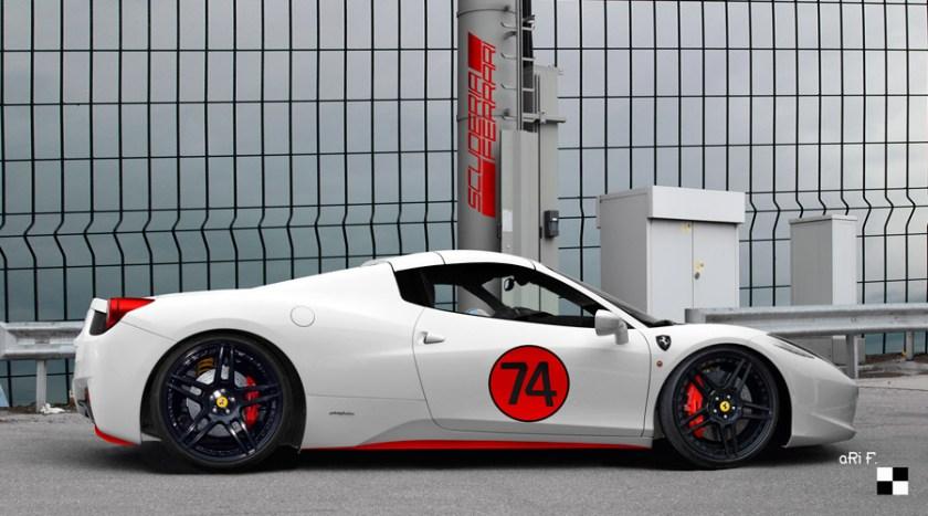 Ferrari 458 Spider Poster in white