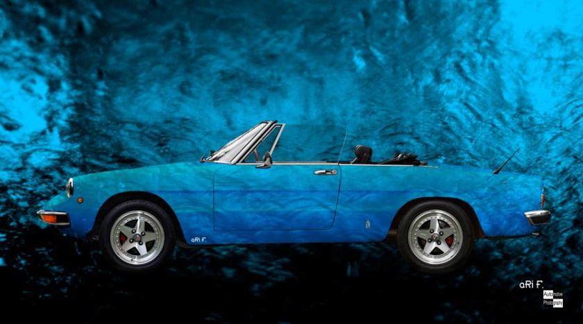"Alfa Romeo Spider ""Coda Tronca"" Art Car Poster in blue"