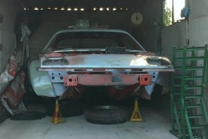 TR7 with front suspension removed
