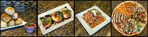 Garlic Knots, Valentino's Salad, Spaghetti with Pasta Tomato Sauce, and a variety of Neapolitan Pizzas. Photo Credit © Chester Simpson